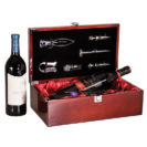 Rosewood two wine bottle display case with tools